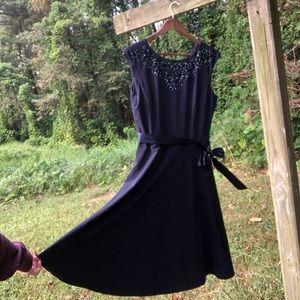 Tahari Beaded Neckline Sleeveless Cocktail Dress
